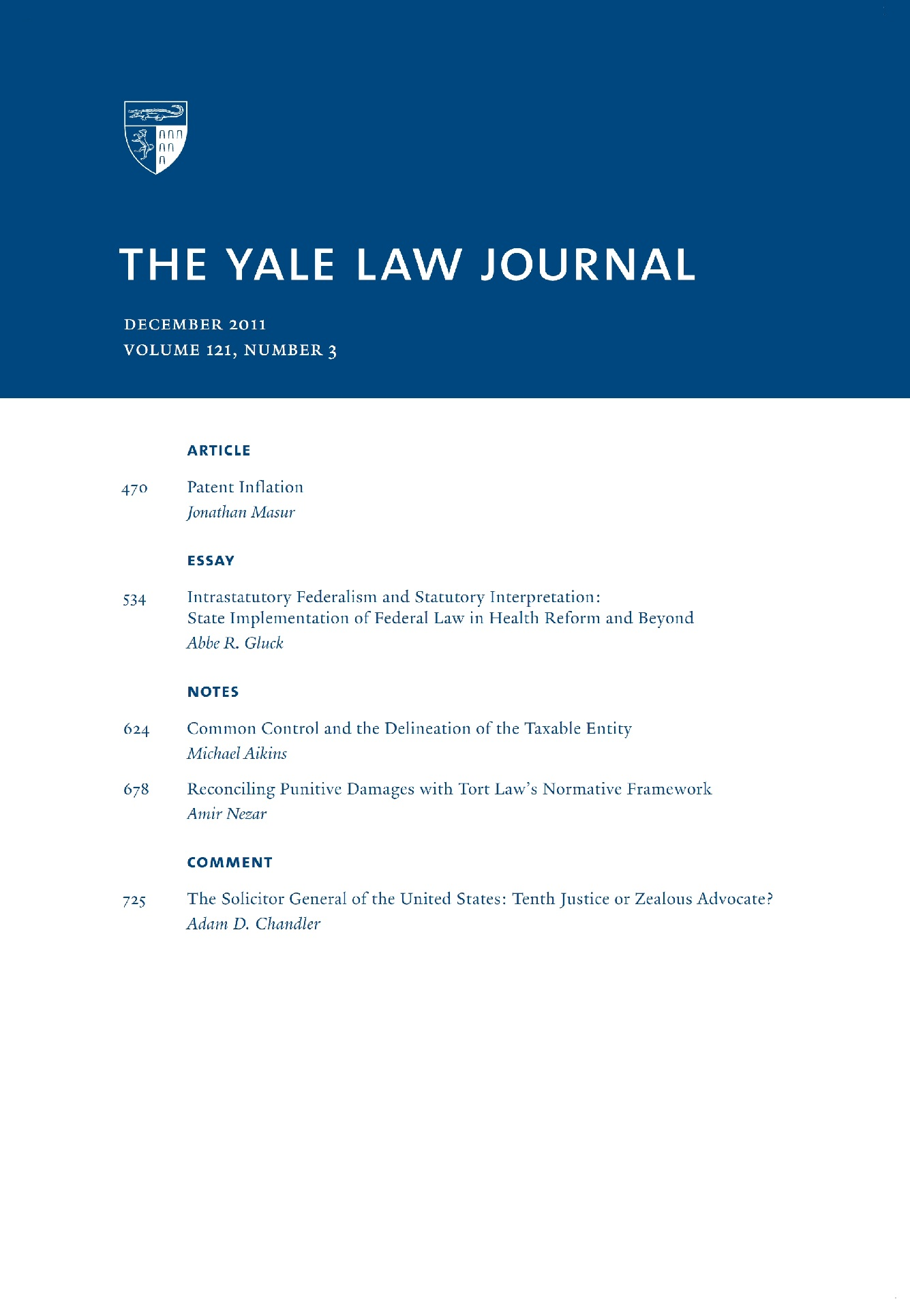 yale law journal s issue no masur on patent yale law journal s 2011 issue no 3 masur on patent inflation and gluck on federalism in health reform