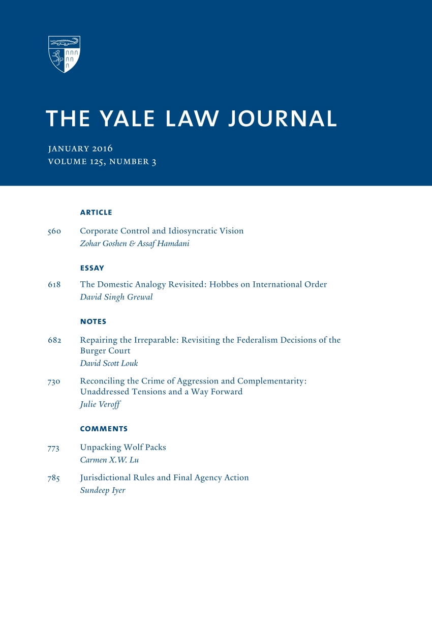 yale law journal jan dual class corporate governance yale law journal jan 2016 dual class corporate governance international law by hobbes burger court federalism wolf packs